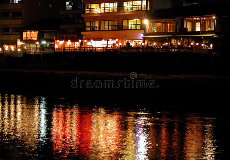 Riverside restaurant royalty free stock images