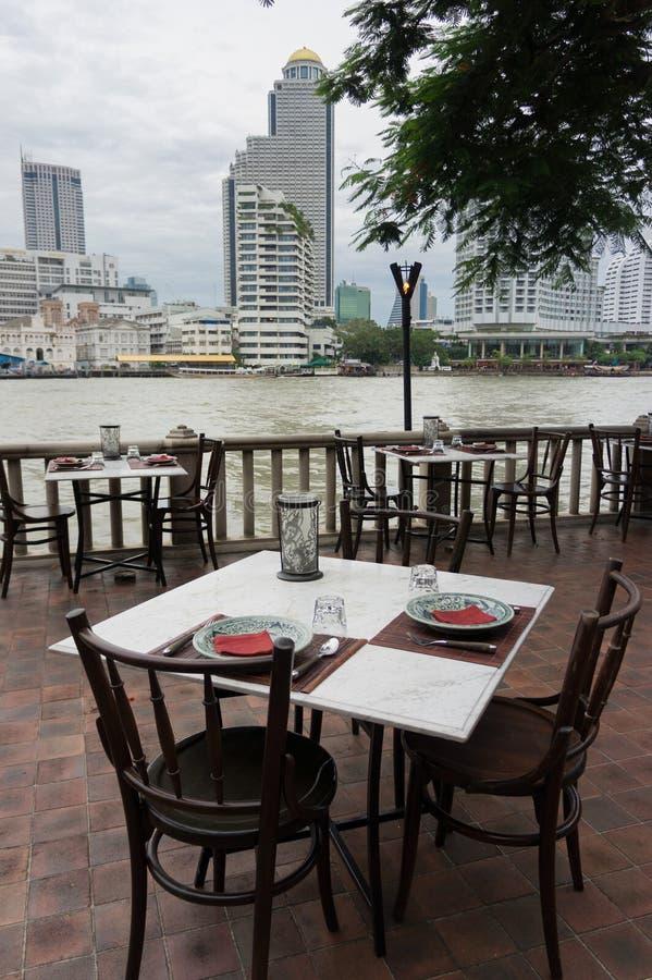 Riverside Restaurant stock photo