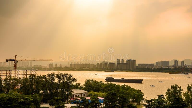 Riverside sunset stock photo