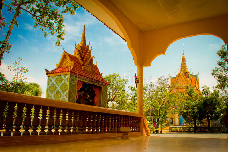 A riverside temple of Kampot, Cambodia. Riverside temple of Kampot, Cambodia royalty free stock image