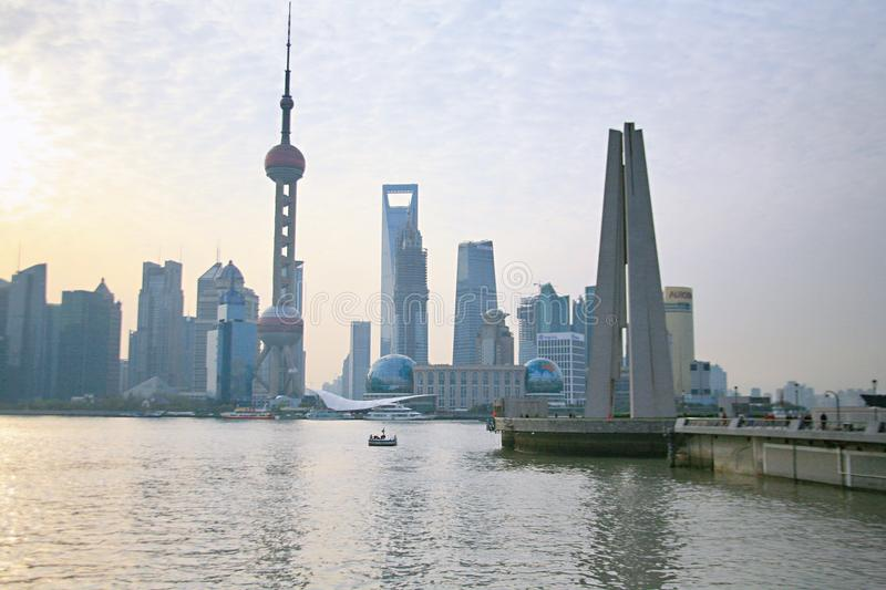 The riverside of the Whampoa River in Shanghai. On the banks of the Huangpu River, the Bund and Lujiazui are opposite and blend. One side is the landmark stock images