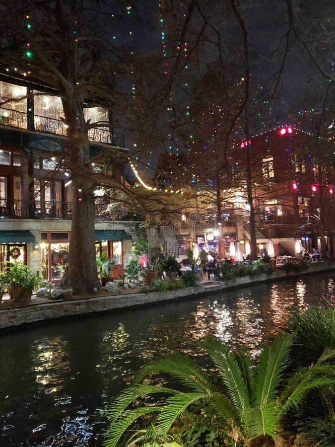 Riverwalk al Natale fotografia stock
