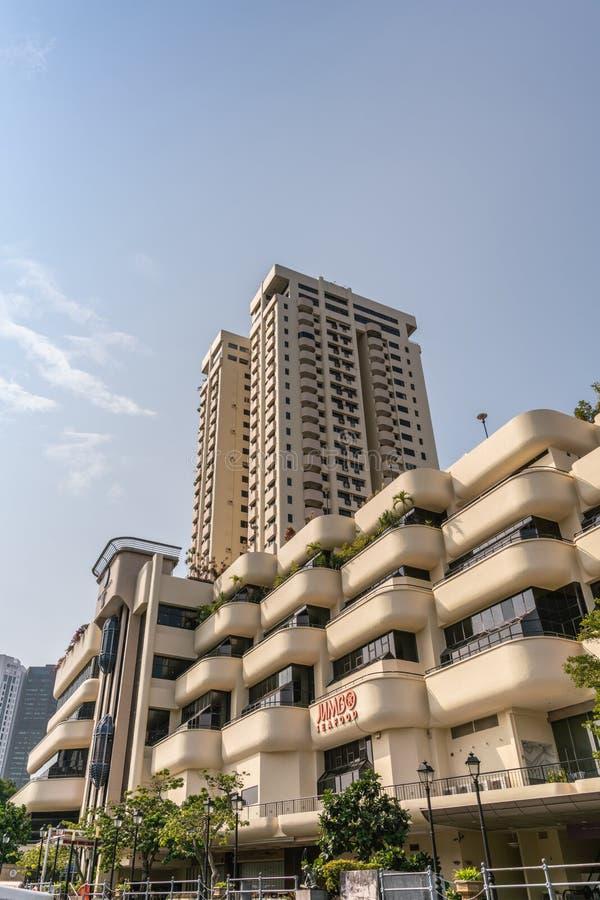The Riverwalk Apartment complex along Singapore River, Singapore stock photos