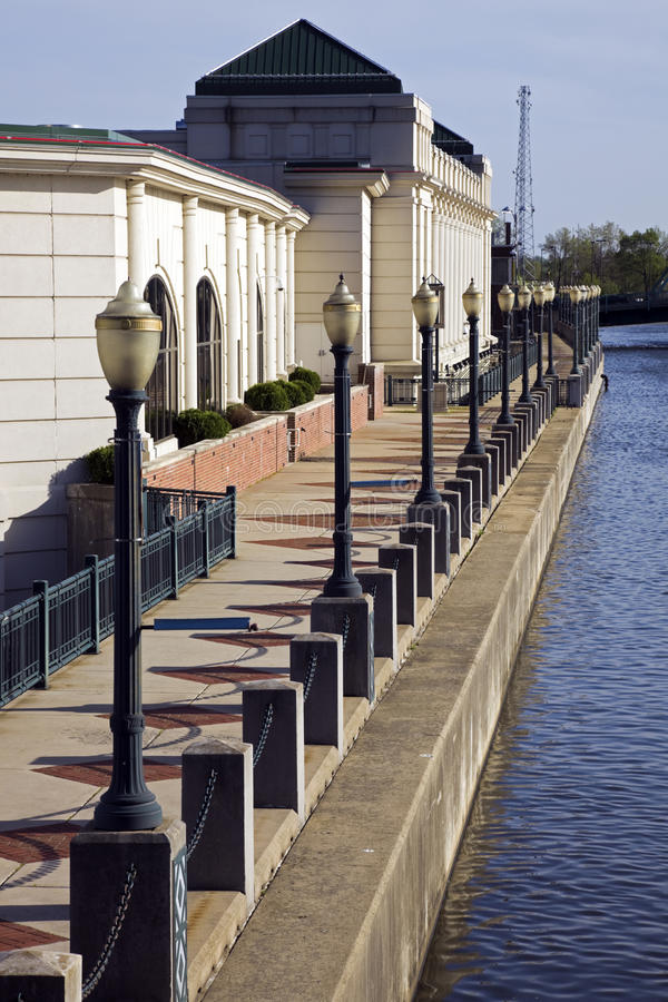 Riverwalk in Joliet stock afbeeldingen