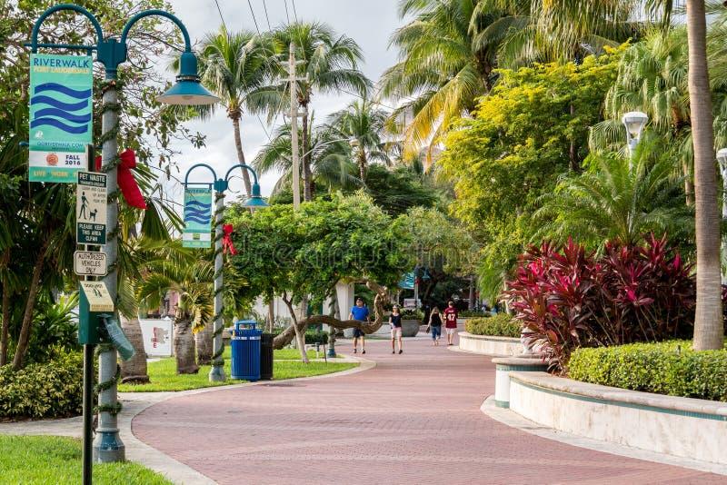 Riverwalk w w centrum fort lauderdale, Floryda zdjęcie stock