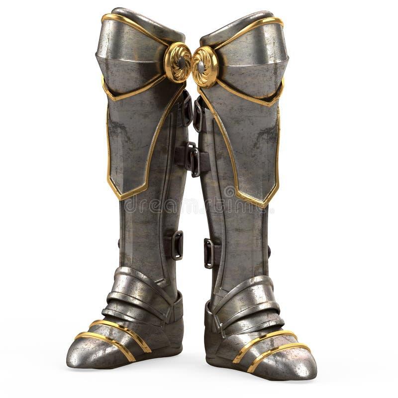 Rivesta di ferro l'alta armatura del cavaliere degli stivali di fantasia isolata su fondo bianco illustrazione 3D illustrazione di stock