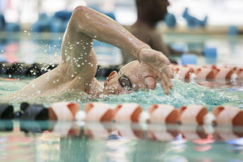 Rivestimenti di nuoto dell'uomo senior immagini stock libere da diritti