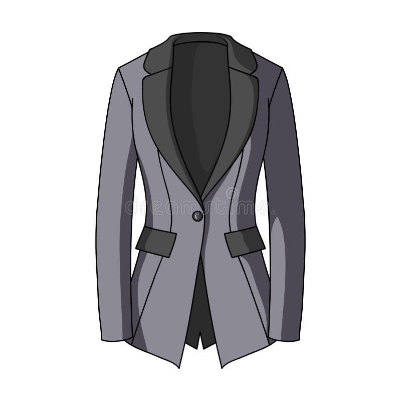 Rivestimento del ` s di Grey Women con le tasche Stile austero del lavoro Icona dell'abbigliamento delle donne singola nelle azio illustrazione vettoriale
