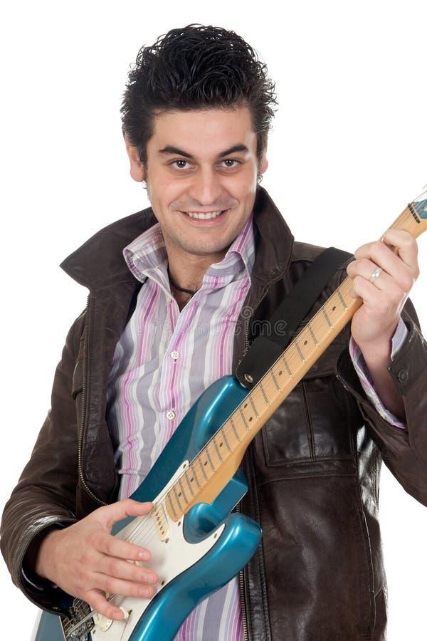 Rivestimento di cuoio del chitarrista fotografie stock