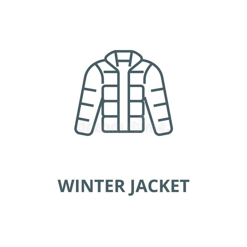 Rivestimento di inverno, downjacket, linea all'aperto icona, concetto lineare, segno del profilo, simbolo di vettore dei vestiti illustrazione di stock