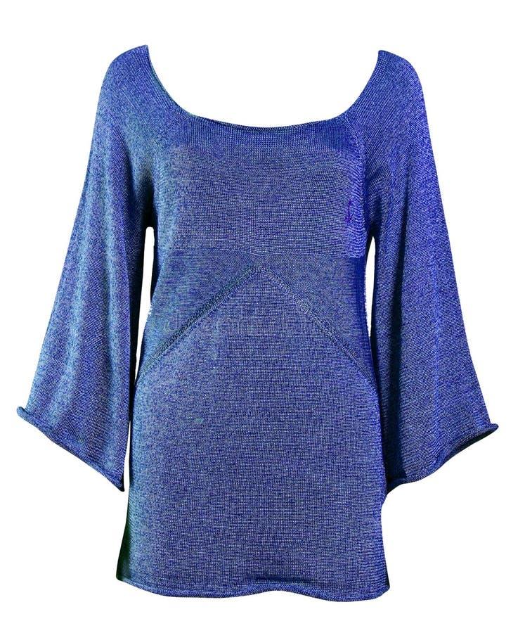 Rivestimento lavorato a maglia di lana blu della tunica fotografie stock libere da diritti