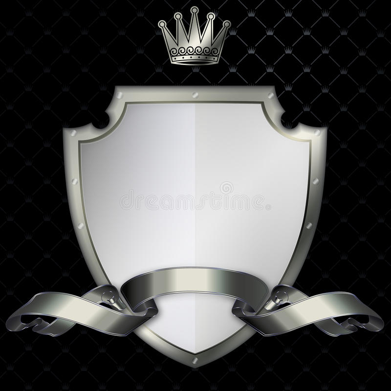 Riveted shield and silver ribbon. stock illustration