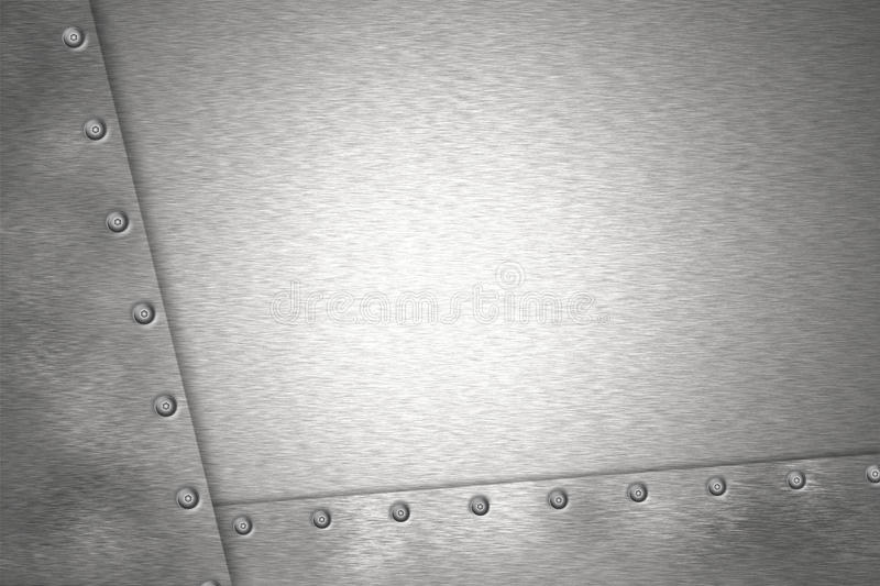 Rivets in brushed steel. Background. Copy space stock illustration