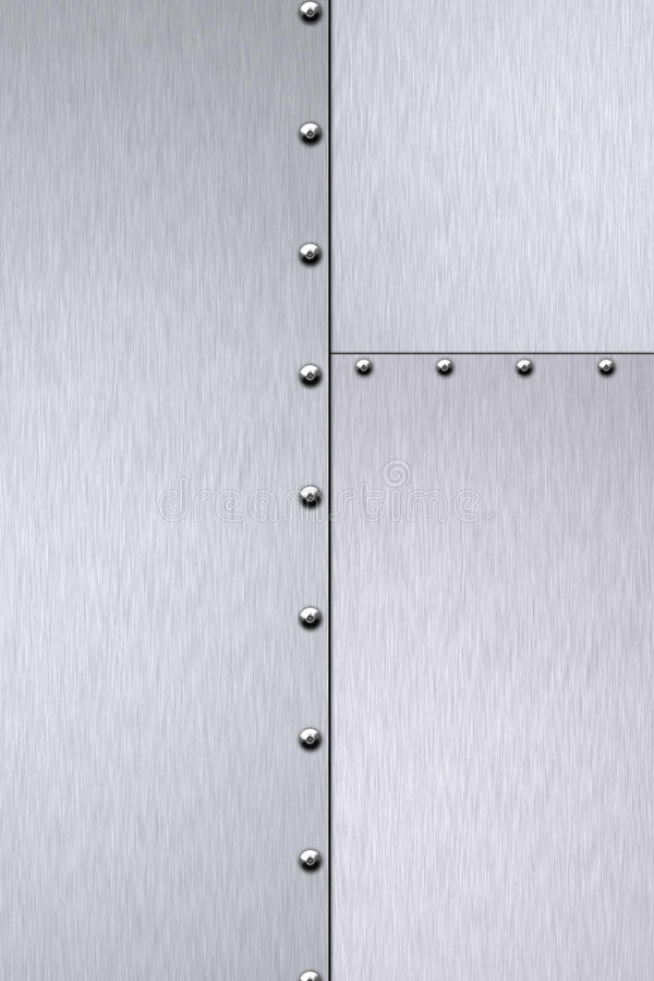 Rivets in brushed steel. Background. Copy space royalty free illustration