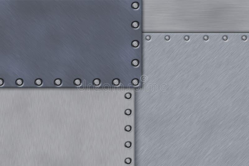 Rivets in brushed steel. Background. Copy space vector illustration