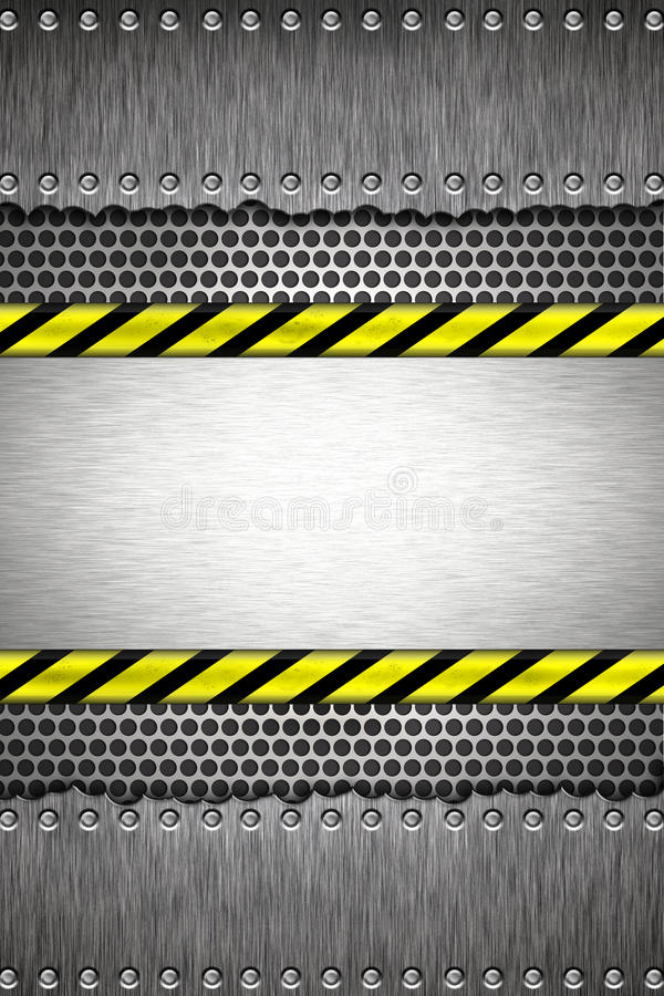 Rivets in brushed steel. Background. Yellow and black construction border.Copy space stock illustration