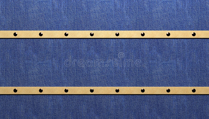 Rivets. In Leather on Denim stock illustration