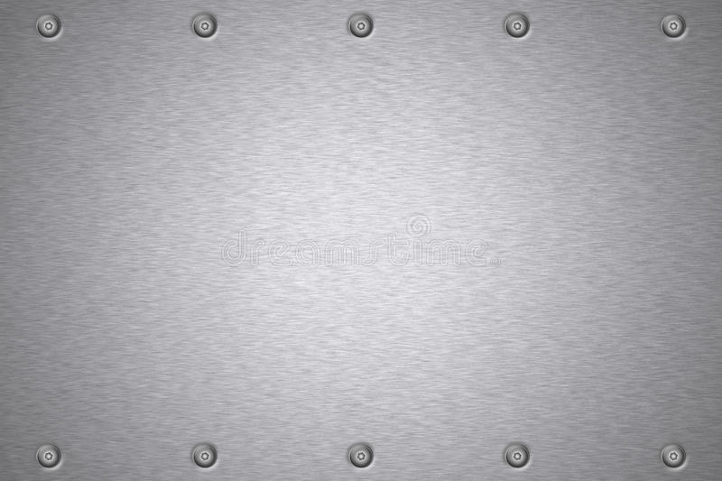 Rivets in steel. Rivets in brushed steel background. Copy space royalty free illustration