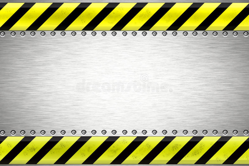 Rivets in steel. Rivets in brushed steel background. Yellow and black construction border.Copy space royalty free illustration