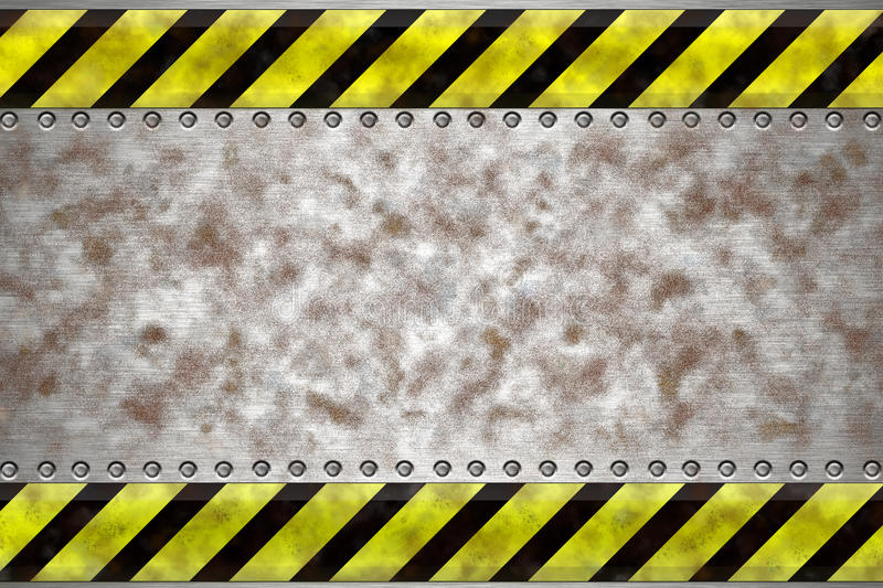 Rivets in steel. Rivets in grungy steel background. Yellow and black construction border vector illustration