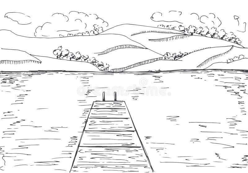 Rivière avec le pilier en bois Montagnes de l'autre côté du lac Illustration de vecteur d'un style de croquis illustration libre de droits