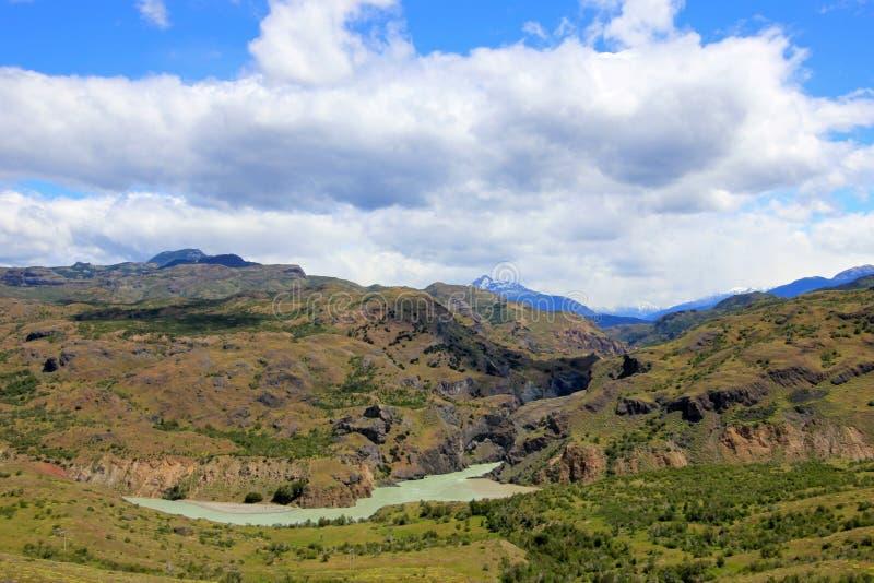 Rivière bleue profonde de Baker, Carretera austral, Chili photo libre de droits