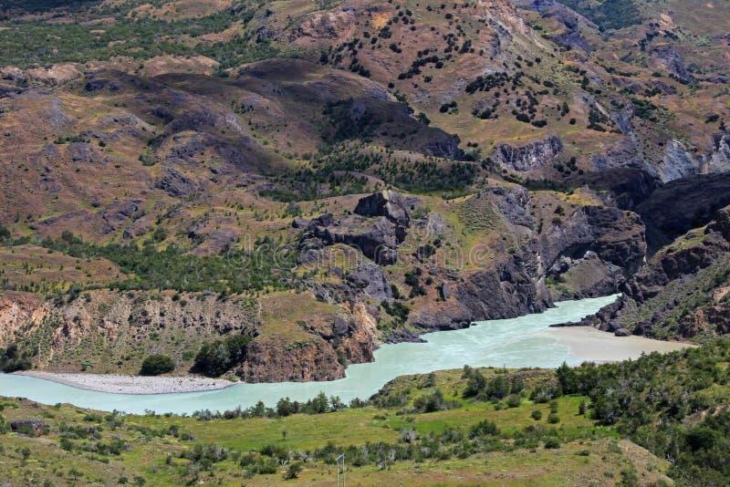 Rivière bleue profonde de Baker, Carretera austral, Chili image libre de droits