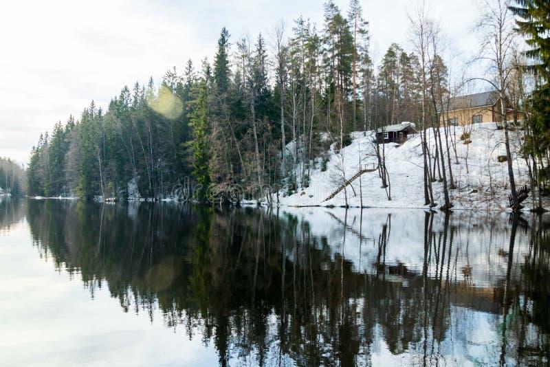 Rivière calme Jokelanjoki au ressort, Kouvola, Finlande photo libre de droits