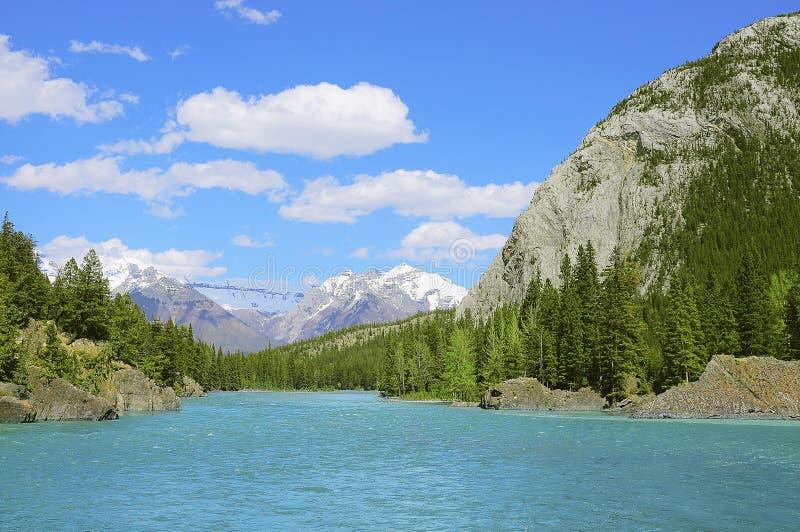Rivière d'arc en parc national de Bamff image stock