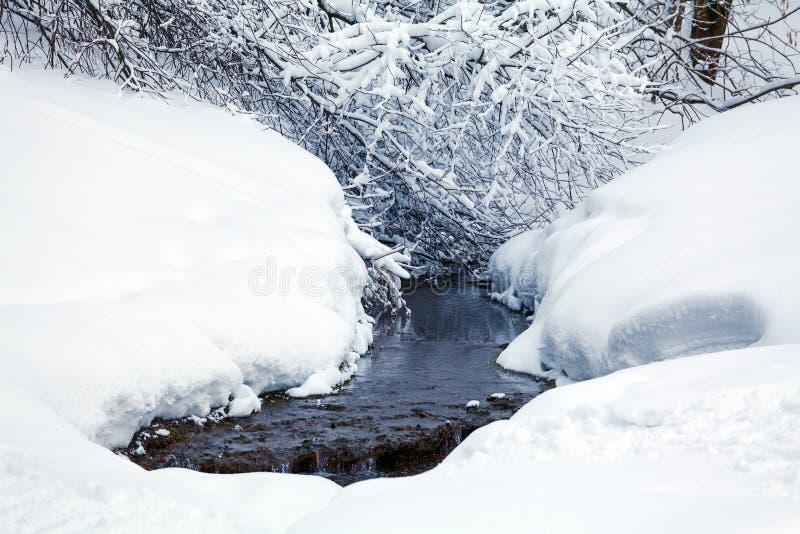 Rivière d'hiver avec la neige images stock