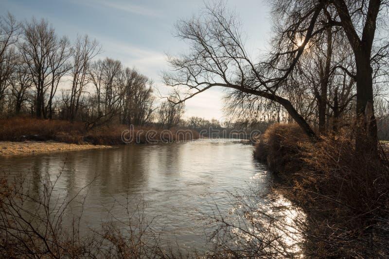 Rivière d'Odra aux frontières de tchèque-poli près de Bohumin et de Chalupki photographie stock libre de droits