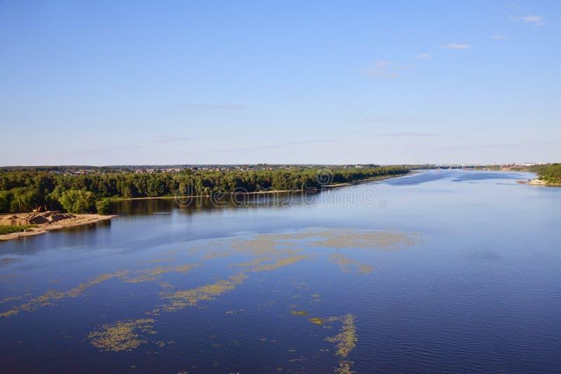 Rivière d'Oka au confluent de la rivière de Moskva, Russie image stock