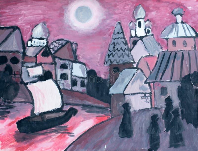 Rivière dans la ville, illustration d'aquarelle images stock