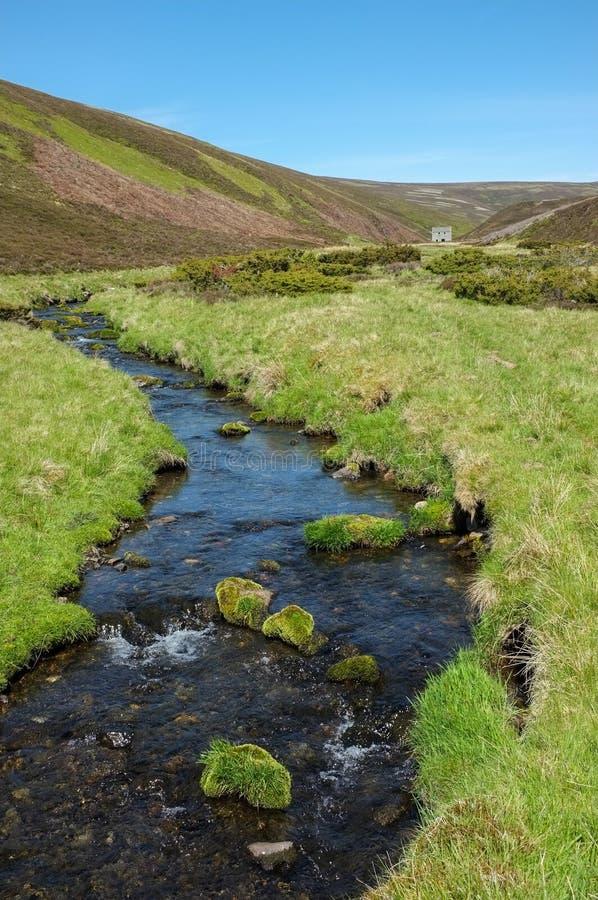 Rivière dans le domaine de Glenlivet, montagnes écossaises images libres de droits