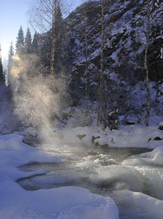 Rivière dans les montagnes d'hiver photos stock
