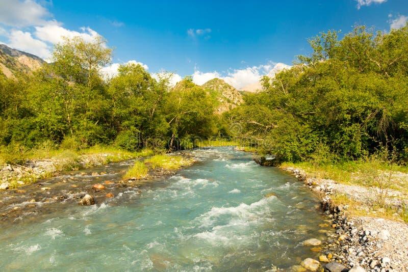 Rivière dans les montagnes de Tian Shan au printemps image stock