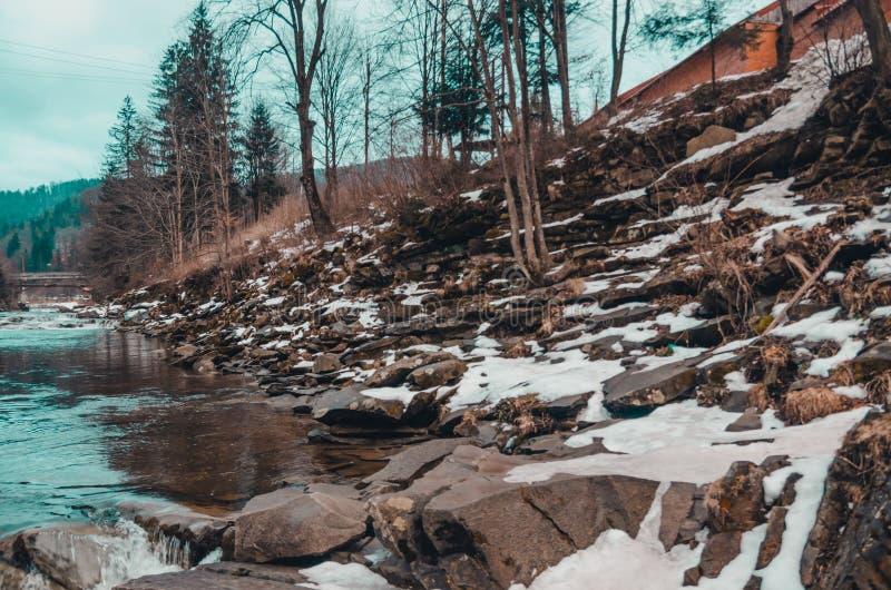Rivière dans les montagnes du bukovel photos libres de droits