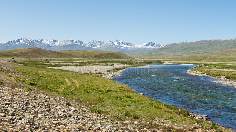 Rivière de Barwai Lungma, parc national de Deosai, Pakistan photo libre de droits
