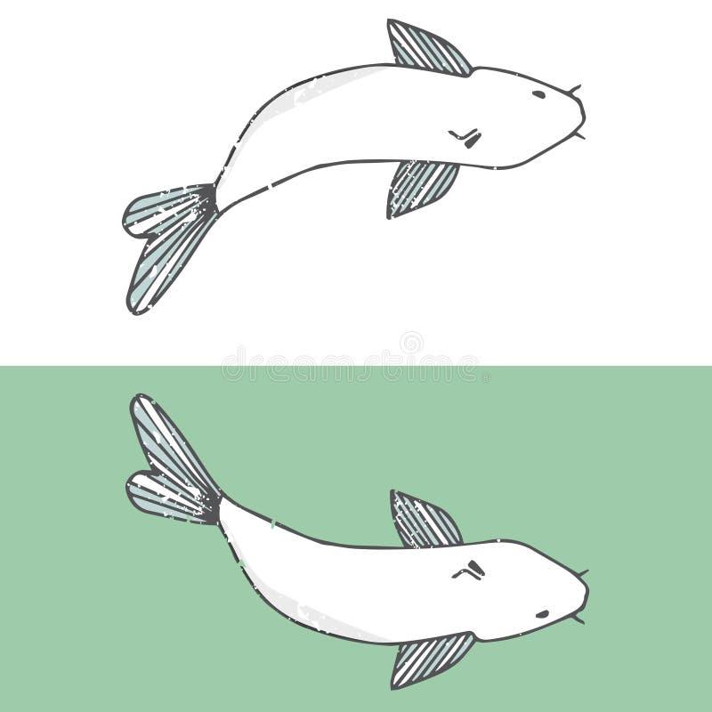 Rivière de clipart (images graphiques) de dessin de mer de poissons blancs d'illustration de dessin de caractère de poisson-chat  illustration stock