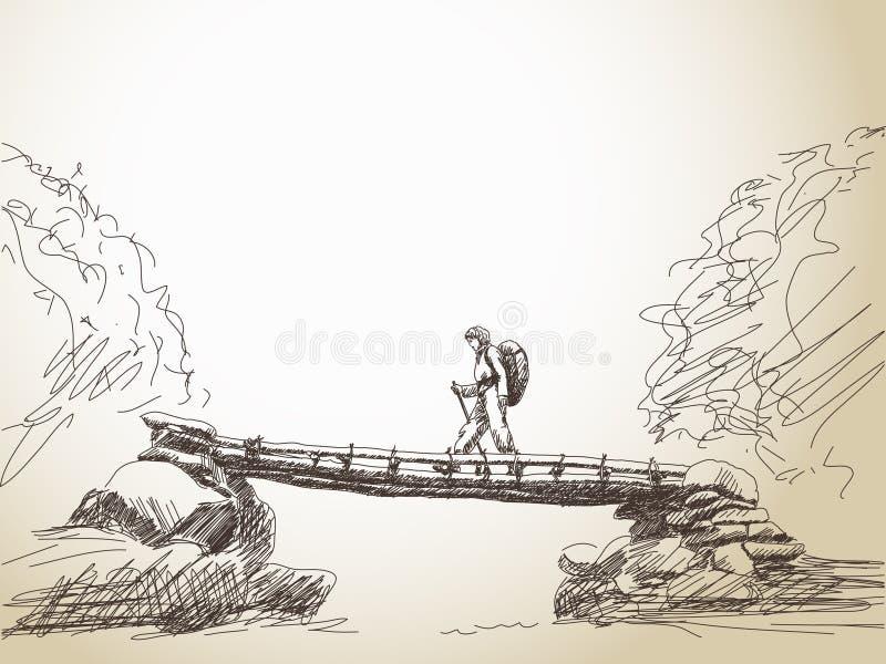 Rivière de croisement de pont avec la femme de trekking illustration stock