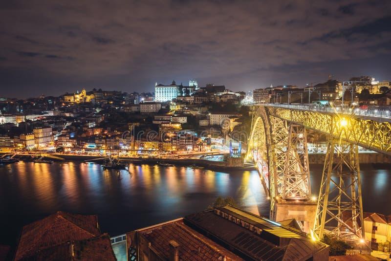 Rivière de Douro la nuit photos libres de droits