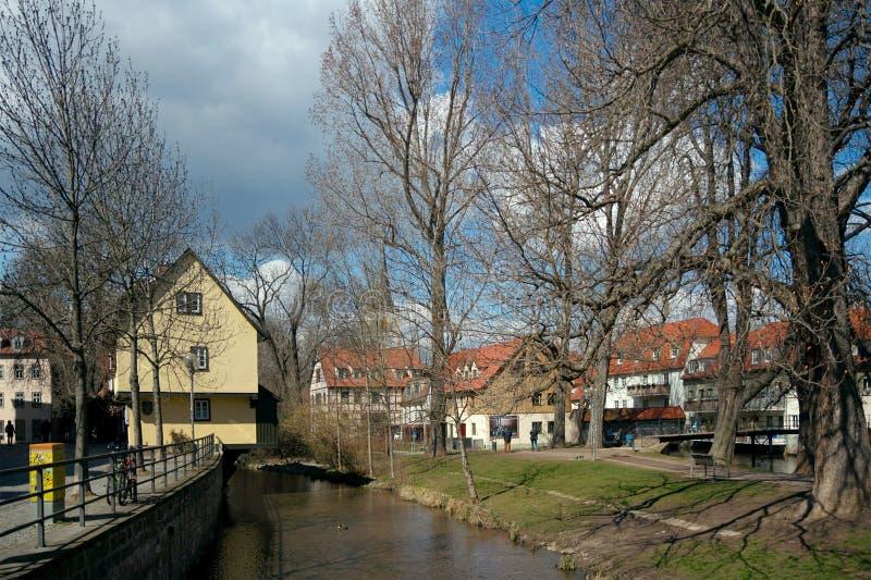 Rivière de Gera, Erfurt, Allemagne photographie stock libre de droits