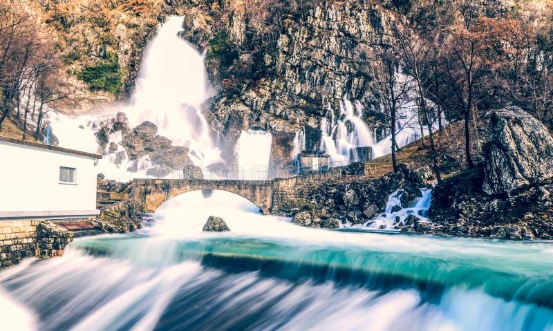 Rivière de Hubelj dans Ajdovscina, Slovénie images libres de droits