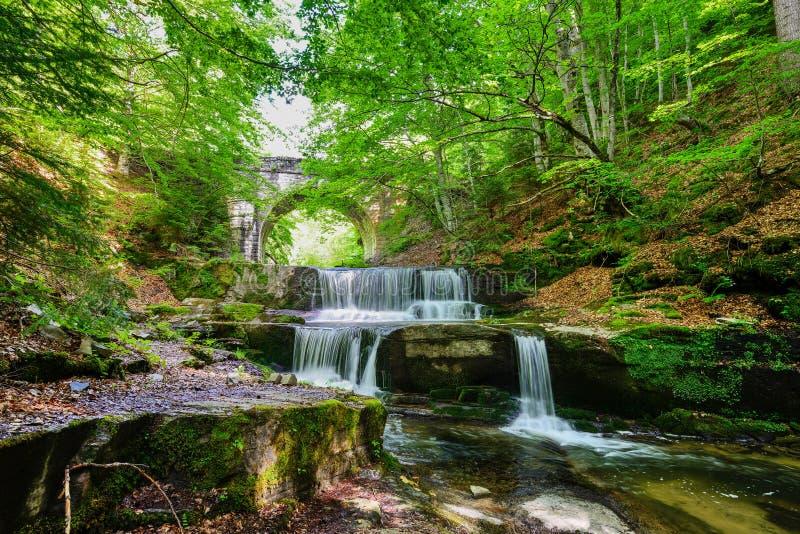 Rivière de Lilkovska et pont en pierre image libre de droits