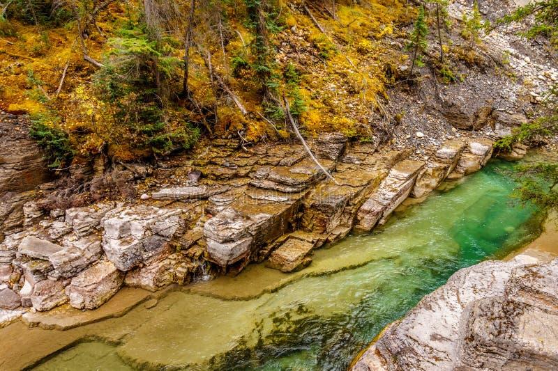 Rivière de Maligne comme elle traverse le canyon de Maligne images stock