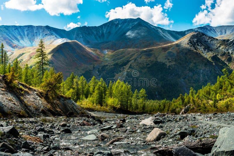 Rivière de montagne au pied de l'arête colorée dans un jour d'été ensoleillé images stock