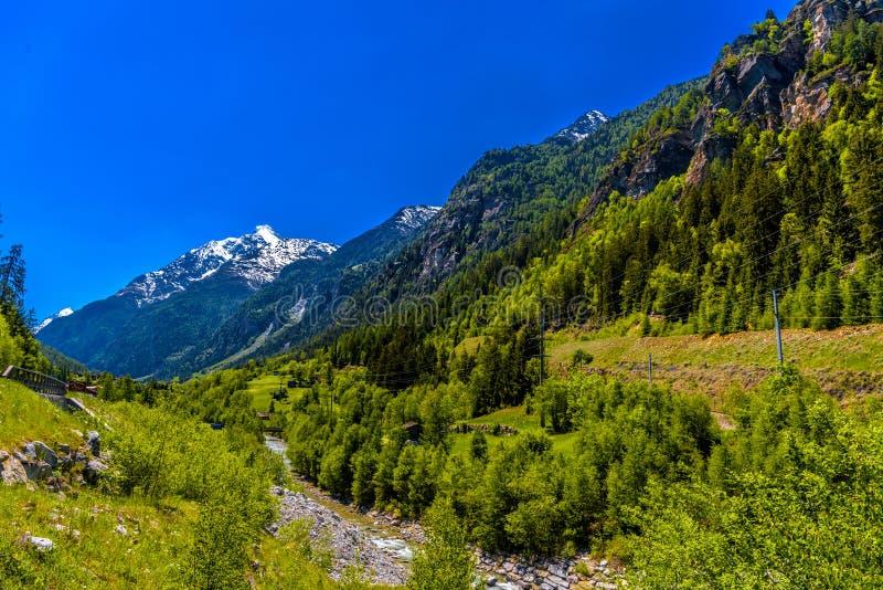 Rivière de montagne en montagnes suisses d'Alpes, Sankt Niklaus, Visp, Wal photos libres de droits