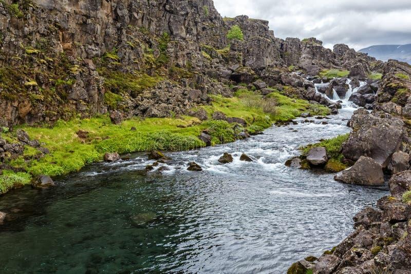 Rivière de montagne en parc national de Tingvellir en Islande image libre de droits