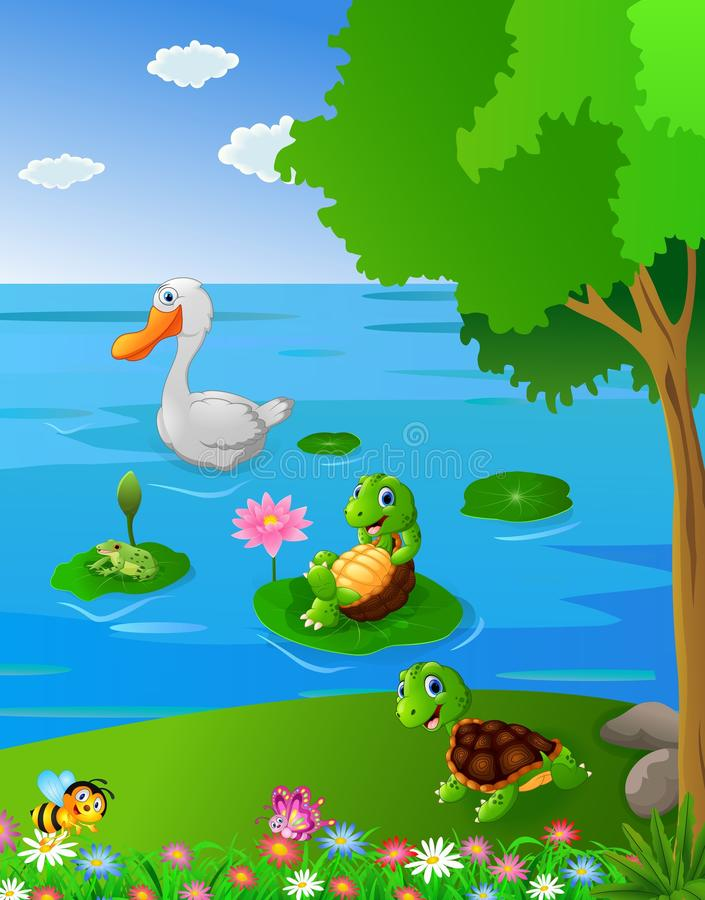 Rivière de paysage avec l'animal illustration de vecteur