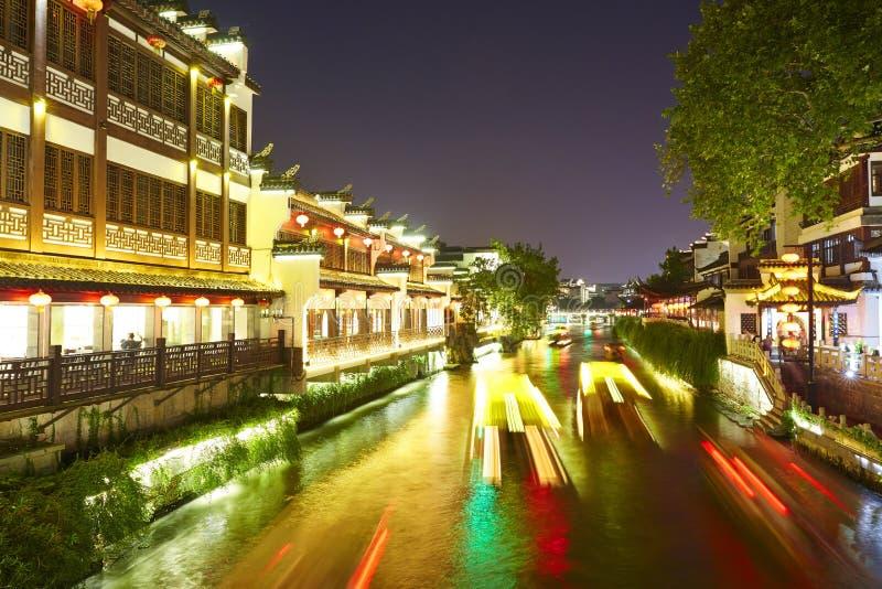 Rivière de Qinghuai la nuit, Nanjing, Chine images stock